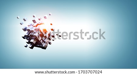 Photo of  Glowing cubes. Innovation and creativity concept