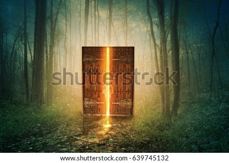 Glowing door in the middle of the forest