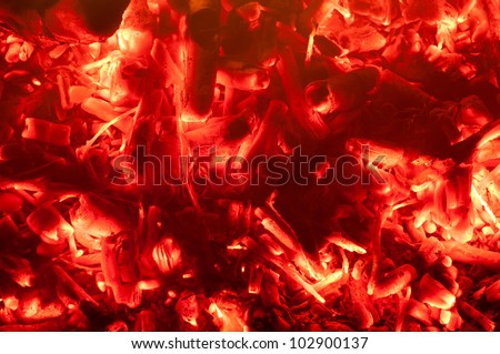 Glowing embers of a fire used in a BBQ