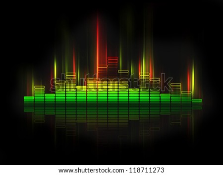glowing equalizer on black background