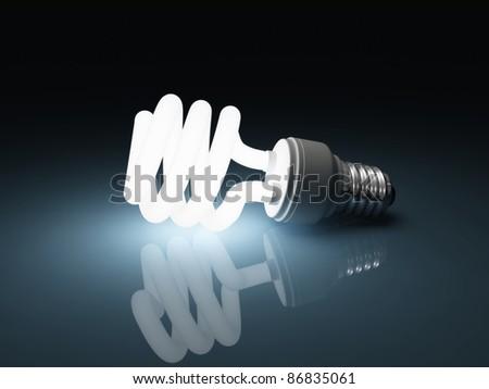 Glowing fluorescent light bulb