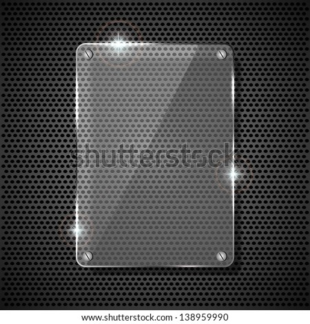 Glowing glass panel on a dark background, illustration.