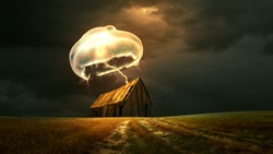 Glowing Golden Jelly fish above a hut 8K background
