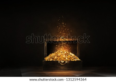 Glowing golden sparkles and stars rising, opened wooden treasure chest with the gold USD Coin. 3D rendering