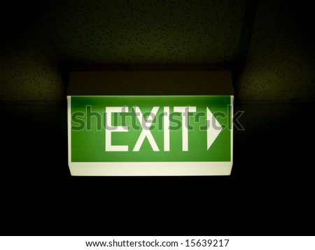 Glowing Green emergency exit sign