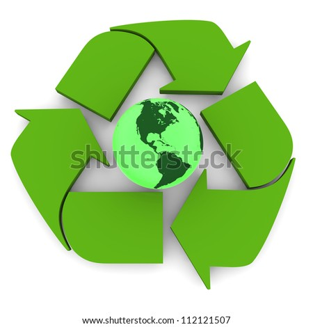 Glowing green planet Earth inside recycling symbol, concept of conservation, isolated on white background. Elements of this image furnished by NASA