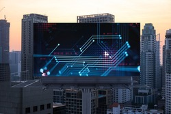 Glowing hologram of technological process on billboard, aerial panoramic cityscape of Bangkok at sunset. The largest innovative hub of tech services in Southeast Asia.