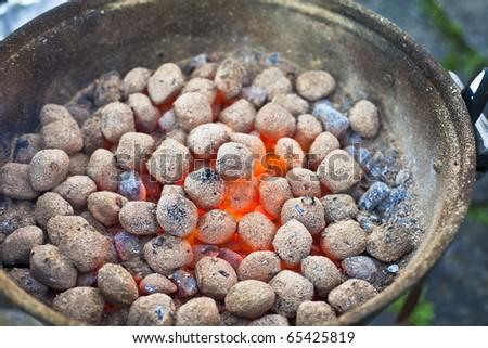 Glowing hot coal