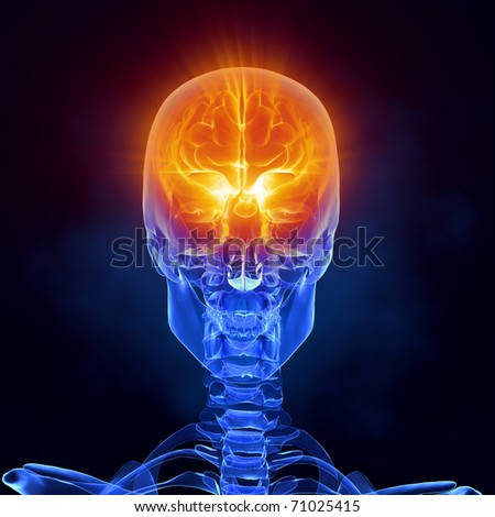 Glowing human brain in x-ray skull - front view