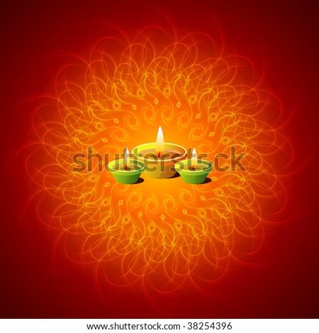 Glowing Lamps On Mandala Background