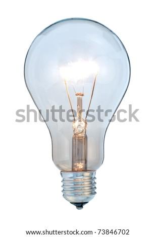 Glowing light bulb on white background - stock photo