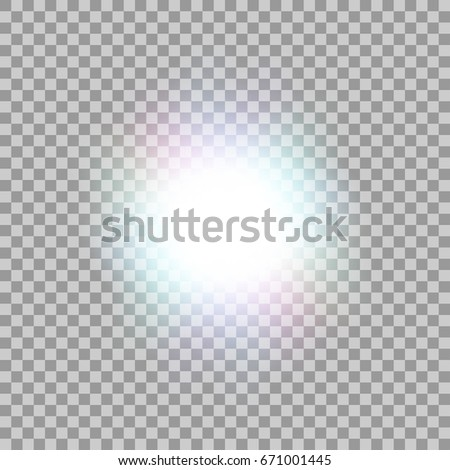 Glowing light effect on transparent background.