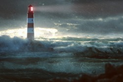 Glowing Lighthouse during heavy storm