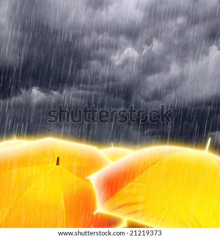 Glowing Magic Gold Umbrellas in Rainy Storm Clouds