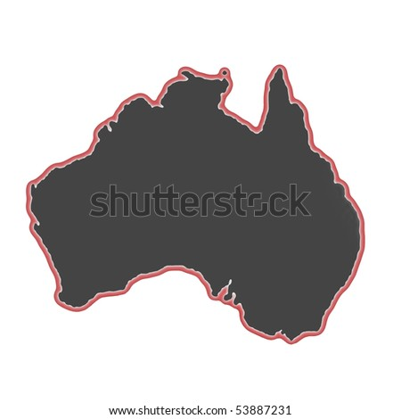 glowing map of Australia