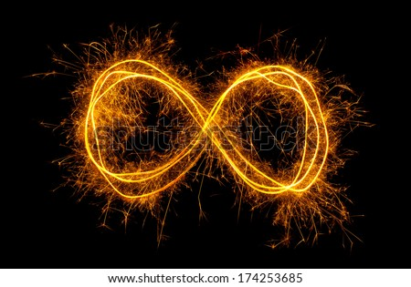 Glowing moebius strip infinity symbol isolated on black background