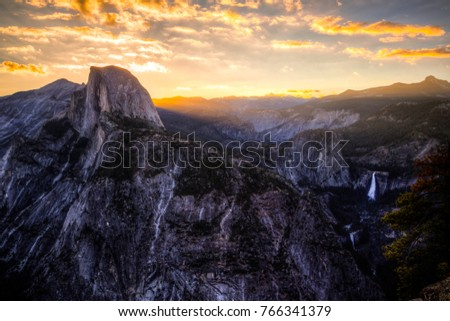 Glowing Morning Light from Glacier Point, Yosemite National Park, California #766341379