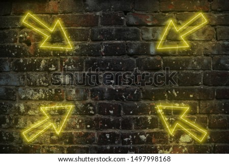 Glowing neon arrows futuristic background in retro 80s 90s style, old brick wall with yellow reflex light #1497998168
