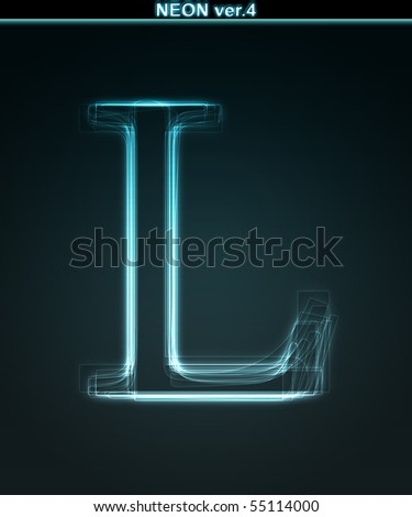 Glowing neon font. Shiny letter L on black background.