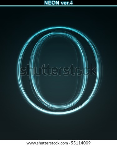 Glowing neon font. Shiny letter O on black background.