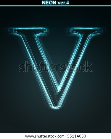 Glowing neon font. Shiny letter V on black background.