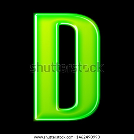 Glowing neon green glass letter D in a 3D illustration with a shiny metallic glossy effect & rounded bold font style isolated on a black background Zdjęcia stock ©