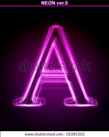 Glowing neon letter on black background Letter A Full font in portfolio Search by neon pink font