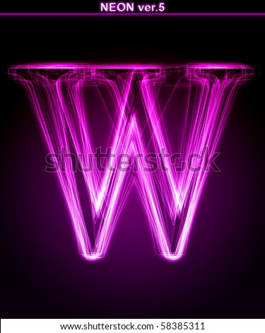 "Glowing neon letter on black background. Letter W. (Full font in portfolio. Search by ""neon pink font"".)"