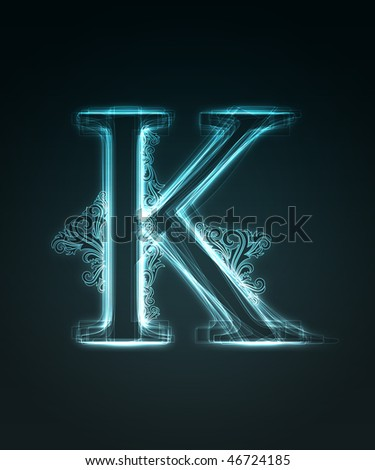 Glowing neon letter with floral decoration on black background.