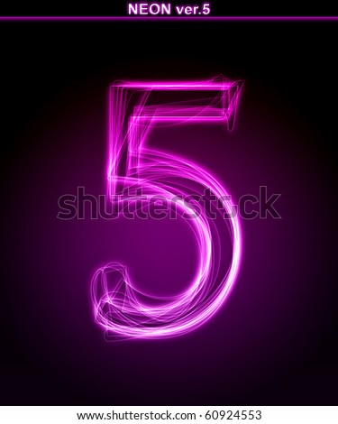 "Glowing neon number on black background. Letter 5. (Full font in portfolio. Search by ""neon pink font"".)"