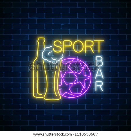 Glowing neon sport bar concept on dark brick wall background. Pub with live sport broadcast signboard.