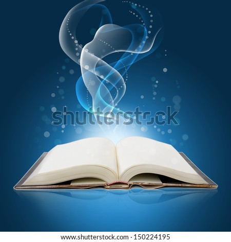 glowing  open  book with bright lights and colors