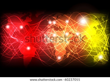 Glowing Optical Fibers and World Map