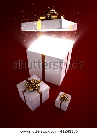 Glowing particles flowing out from magic gift  box