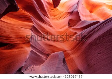 Glowing passage in lower Antelope slot canyon, Page, Arizona, USA