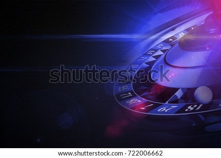 Glowing Purple Roulette Concept 3D Rendered Illustration with Left Side Copy Space. Black Background Casino Theme.