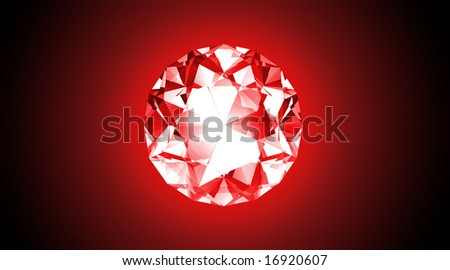 Glowing Red Jewel - 3D Illustration