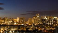 Glowing San Francisco skyline from South of Market at night
