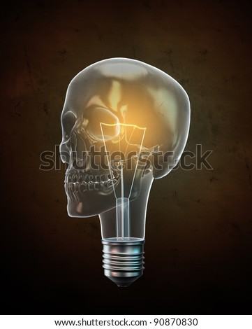 Glowing skull shaped bulb background illustration.