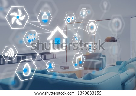 Glowing smart home interface icons over living room interior. Concept of smart home control and modern technology. 3d rendering