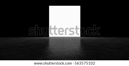 Glowing square in a dark room. 3D Render