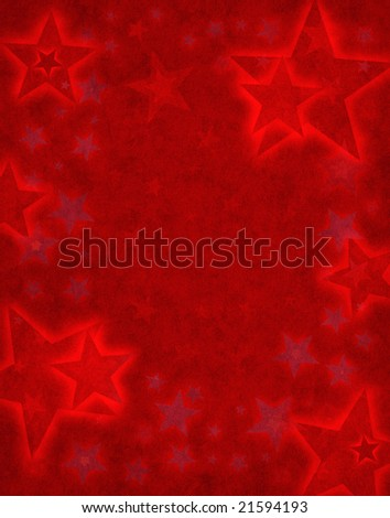 Glowing star shapes on a textured red background.