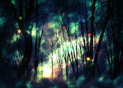 Glowing starry space with winter forest illustration, photomanipulation.