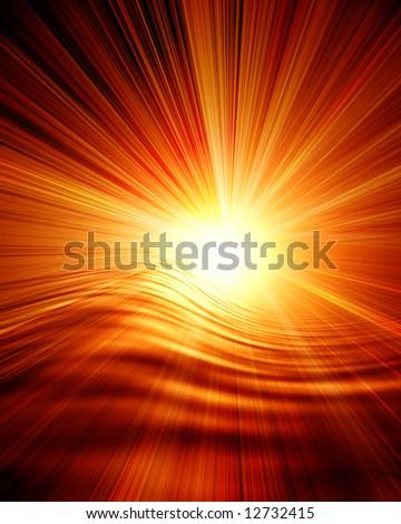 Glowing sunset - stock photo