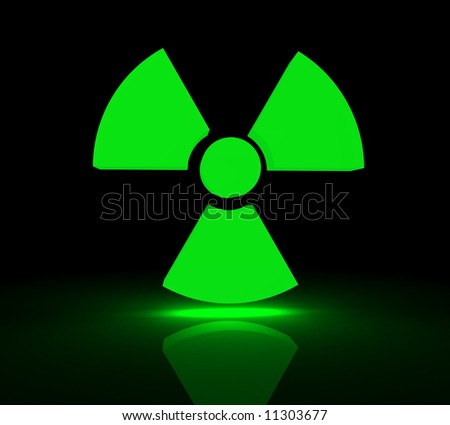 Glowing symbol for radioactive substances. 3d render.