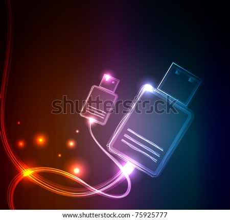 Glowing USB, raster illustration