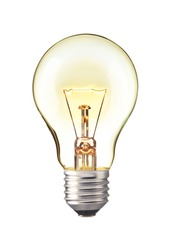 Glowing yellow light bulb,  Realistic photo image turn on tungsten light bulb isolated on white background