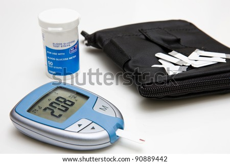 Glucose Monitor, Test Strips and Case