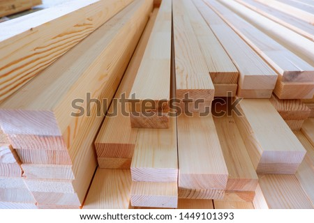 Glued pine timber beams for wooden windows closeup