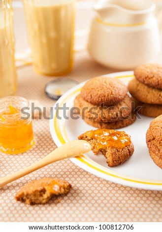 Gluten and Dairy Free Version of Ginger Biscuits Served with Lemon Jam